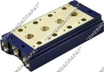 Плиты блочного монтажа для пневмораспределителей 5/2 и 5/3 типа 5Р-6(-10,-16)-...-3 с рабочими отверстиями в корпусе распределителя